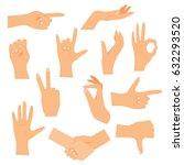 hands in various gestures. flat ... | Shutterstock .eps vector #632293520