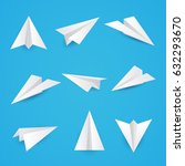 set a simple paper planes icon. ... | Shutterstock .eps vector #632293670