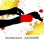 black hands holding red tag on... | Shutterstock . vector #63230008