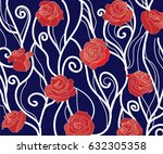 pattern with roses on a blue... | Shutterstock .eps vector #632305358