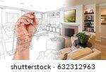 hand drawing custom living room ... | Shutterstock . vector #632312963