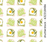 cute pattern with avocado... | Shutterstock .eps vector #632318486