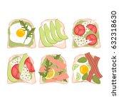 set of six cute illustration of ... | Shutterstock .eps vector #632318630