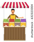 produce shop keeper. fruit and... | Shutterstock .eps vector #632323304