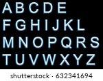 alphabet neon printed | Shutterstock . vector #632341694