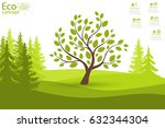 tree on green grass. eco... | Shutterstock .eps vector #632344304