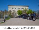the berghain  berlin. queue of... | Shutterstock . vector #632348330