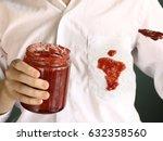 kid boy drop strawberry jam on... | Shutterstock . vector #632358560