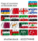 set of waving flags of asian... | Shutterstock .eps vector #632374448