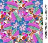 seamless hand drawn flower...   Shutterstock . vector #632381099