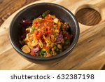 delicious spaghetti with red... | Shutterstock . vector #632387198