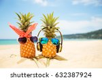 Couple Attractive Pineapples Love Sand - Fine Art prints