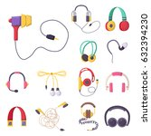 headphones vector set music... | Shutterstock .eps vector #632394230