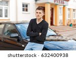 handsome stylish man in black... | Shutterstock . vector #632400938