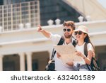 multiethnic traveler couple... | Shutterstock . vector #632401589