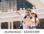 multiethnic traveler couple... | Shutterstock . vector #632401589