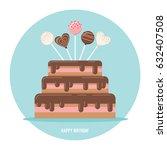 birthday cake with pops vector... | Shutterstock .eps vector #632407508
