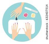 manicure salon procedure vector ... | Shutterstock .eps vector #632407514