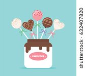 cake pops in a jar vector... | Shutterstock .eps vector #632407820