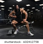 handsome man with big muscles ... | Shutterstock . vector #632412758