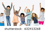 group of kids celebrate party... | Shutterstock . vector #632413268