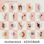 set of animal icons. abstract... | Shutterstock .eps vector #632418668