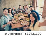 hispanic cute girl is making... | Shutterstock . vector #632421170