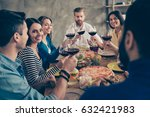 cheers  friends got together by ... | Shutterstock . vector #632421983