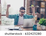 excited screaming young man...   Shutterstock . vector #632425280