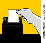 hand removing receipt ticket | Shutterstock .eps vector #632429033