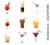 alcoholic cocktails isolated on ... | Shutterstock .eps vector #632429288