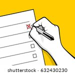 hand marking check box exam...   Shutterstock .eps vector #632430230