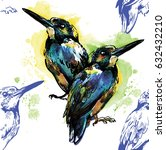 seamless pattern with birds.... | Shutterstock .eps vector #632432210