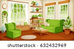 vector cozy living room... | Shutterstock .eps vector #632432969