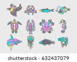 set of fish patches. abstract... | Shutterstock .eps vector #632437079