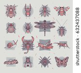 set of insects icons. abstract...   Shutterstock .eps vector #632437088
