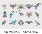set of bird patches. abstract... | Shutterstock .eps vector #632437106