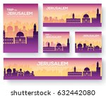 set of jerusalem landscape... | Shutterstock .eps vector #632442080