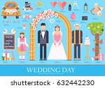 flat wedding illustration thin...   Shutterstock .eps vector #632442230
