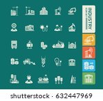 industry icon set clean vector | Shutterstock .eps vector #632447969