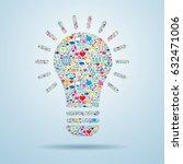 light bulb with social media...   Shutterstock .eps vector #632471006