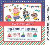 kids birthday party invitation... | Shutterstock .eps vector #632475674