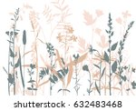 vector silhouettes of flowers... | Shutterstock .eps vector #632483468