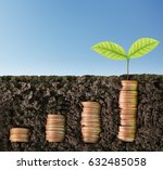 investment concept  coins graph ... | Shutterstock . vector #632485058