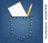 jeans pocket with pencil and...   Shutterstock .eps vector #632487956