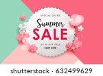 summer sale background layout... | Shutterstock .eps vector #632499629