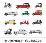antique vehicle colorful vector ... | Shutterstock .eps vector #632506106