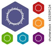 crown of thorns icons set... | Shutterstock .eps vector #632509124