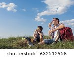 father and son sitting in the... | Shutterstock . vector #632512958