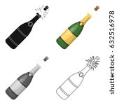 a bottle of champagne with a... | Shutterstock .eps vector #632516978